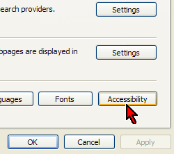 Accessibility Button on Options Dialog
