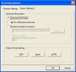 Scanning Options screenshot