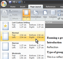 A screenshot of the Margins options found under the Page Layout ribbon
