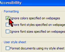 Ignore Colours checkbox on Accessibility Dialog